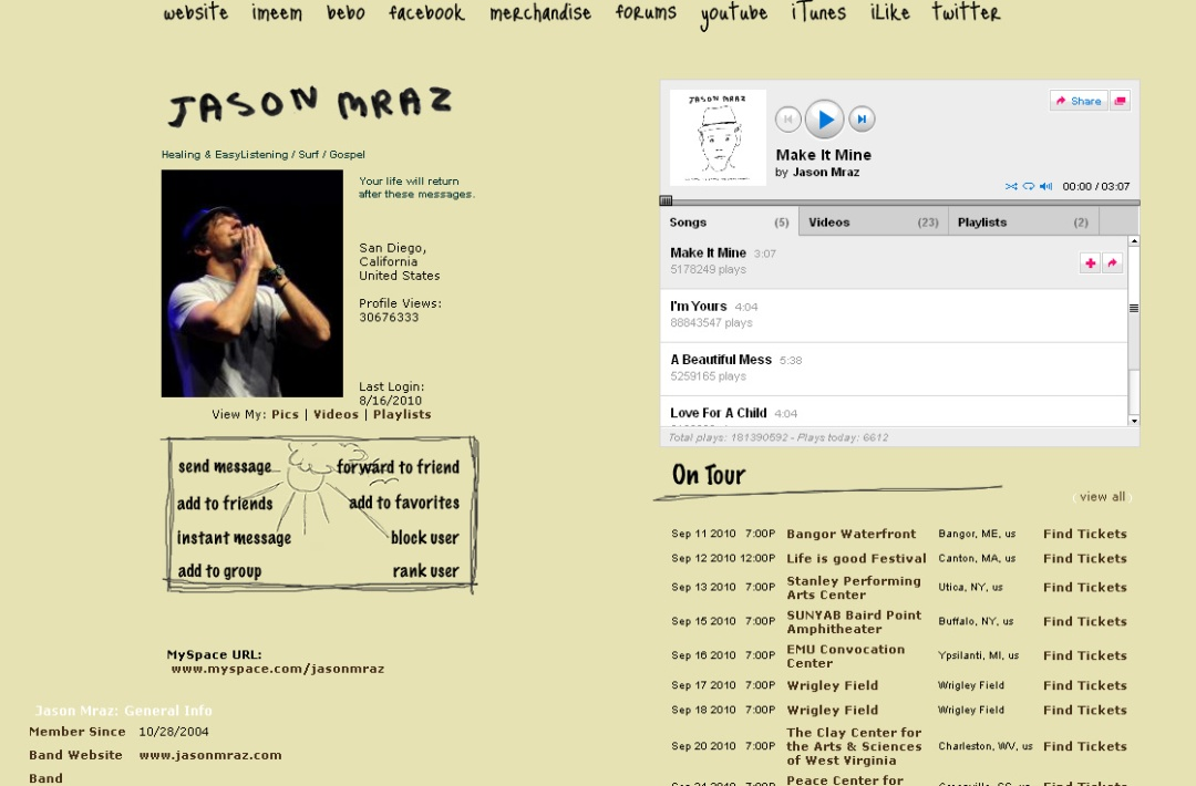 Ejemplo Pagina de MySpace