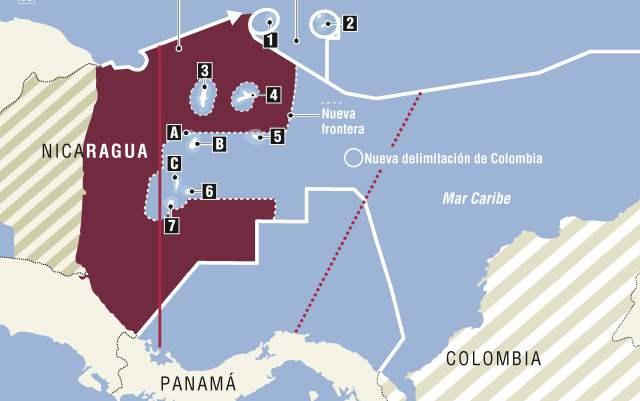 Nuevo mapa marítimo de Colombia, luego de la decisión del 19 de Noviembre de 2012 en la CIJ.