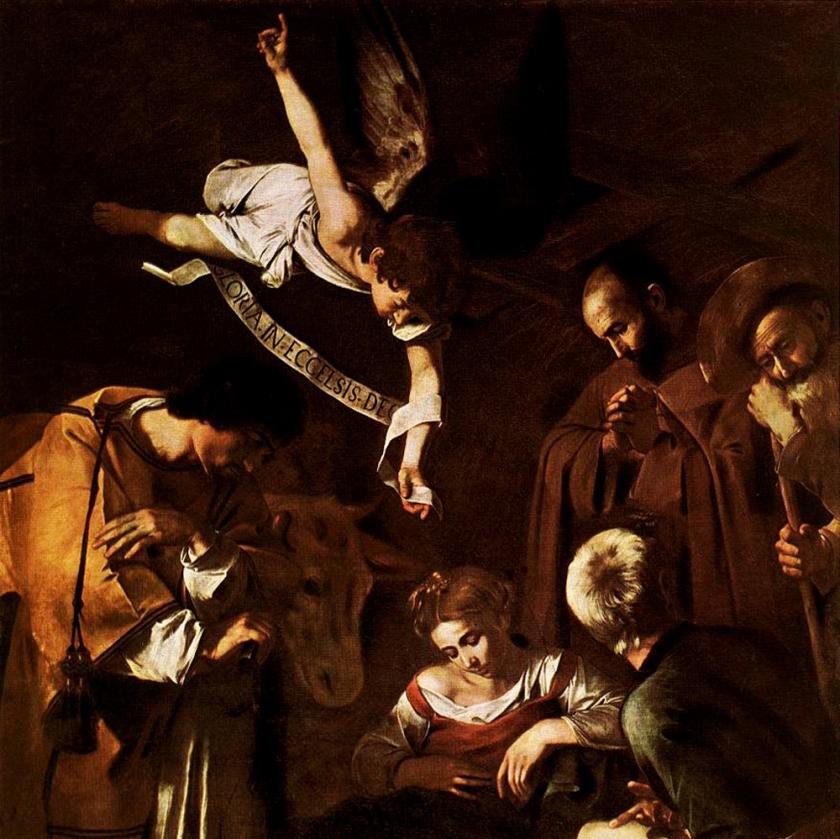 Natividad con San Francisco y San Lorenzo. Cuadro de Caravaggio estimado en 20'000.000 de dólares, bueno, si lo encuentran. ¿En realidad tiene que ver la calidad del arte con la calidad humana del artísta?