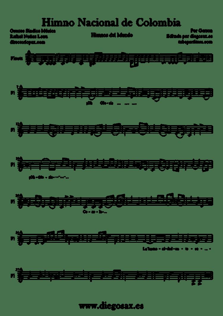 Himno de Nacional de Colombia Partitura para Flauta Travesera, de pico y dulce-1