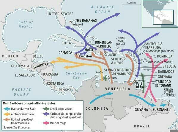 Rutas del narcotráfico que pasan por Venezuela.
